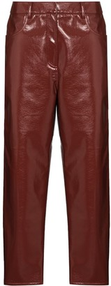 Tibi Patent-Effect Cropped Trousers