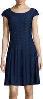 Ronni Nicole Cap-Sleeve Eyelet Fit-and-Flare Dress