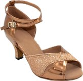Abroo Womens Latin Salsa Ceremony Party Ankle Straps PU Professional Dance-shoes US Size10.5(2.4IN)