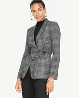 Ann Taylor Menswear Plaid Belted Blazer