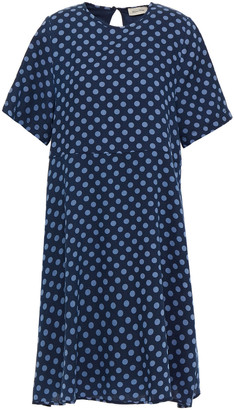 American Vintage Polka-dot Cotton And Wool-blend Twill Dress