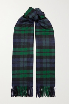 Johnstons of Elgin Fringed Checked Cashmere Scarf - Dark green