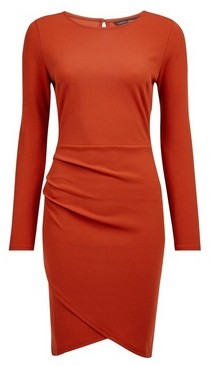 Dorothy Perkins Womens Rust Wrap Skirt Bodycon Dress