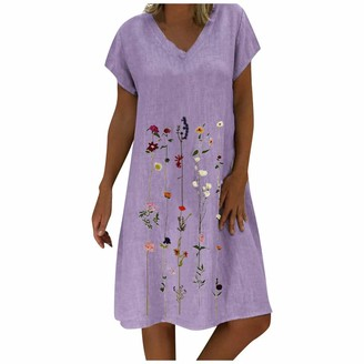 Tuduz Dress Mini Dresses TUDUZ Sale Clearance Women Summer Plus Size Vintage Ethnic Printed V-Neck Cotton and Linen Shift Dress (A Khaki UK-18/CN-3XL)