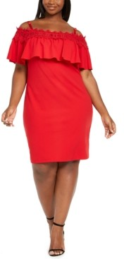 BCX Trendy Plus Size Crochet Off-The-Shoulder Bodycon Dress