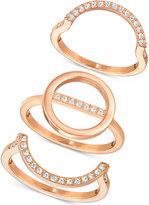 Swarovski Rose Gold-Tone 3-Pc. Set Interlocking Crystal Pavé Rings