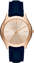 MICHAEL Michael Kors 42mm Slim Runway Watch w/ Leather Strap, Rose Golden/Blue