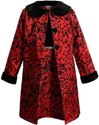 Youngland Girls 4-6x 2-Piece Velvet Bodice with Floral Mikado Skirt & Mikado Coat Set