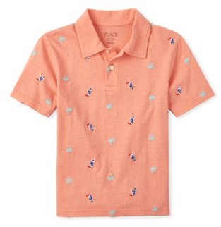 Children's Place The Boys 4-16 Short Sleeve Pelican Palm Tree Printed Polo