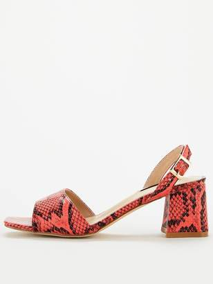 Lost Ink Riva Square Mid Flared Heeled Sandals - Coral