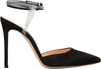 Gianvito Rossi Floating Crystal Stud Ankle-Strap Pumps