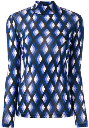 Diane von Furstenberg diamond print long sleeve top