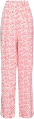 Joseph Riska Floral-print Silk Crepe De Chine Wide-leg Pants
