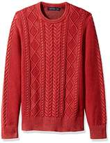 Nautica Men's Long Sleeve Cable Shawl Collar Sweater, Red