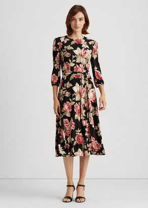 Ralph Lauren Rose-Print Balloon-Sleeve Dress