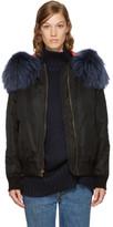 Mr & Mrs Italy Black Hooded New York Bomber Jacket