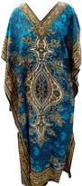 bimbabeautifulart Hippie Boho Long Caftan Kaftan Kimono Sleeve Women Cover Up Polyester Sky