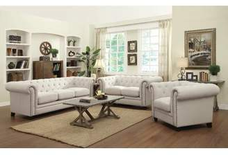Off-White Canora Grey Ossett 3 Piece Living Room Set Canora Grey Fabric