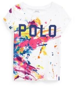 Polo Ralph Lauren Toddler Girls Paint Splatter Logo Jersey Tee