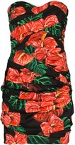 Dolce & Gabbana Laceleaf print folded mini dress