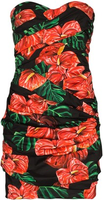 Dolce & Gabbana Laceleaf print folded mini dress