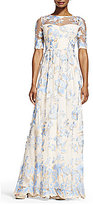 Adrianna Papell Embroidered Lace Round Neck Elbow-Sleeve Gown