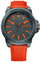 BOSS ORANGE Mens Qa, Gray Dial, Woven Nylon Orange Strap