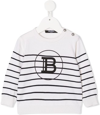 Balmain Kids Stripe Knitted Logo Jumper