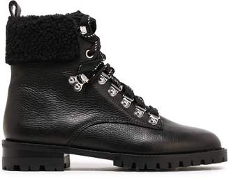 Rebecca Minkoff Faux Shearling-paneled Pebbled-leather Ankle Boots