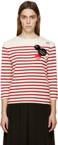 Marc by Marc Jacobs White & Red Breton Striped Crewneck