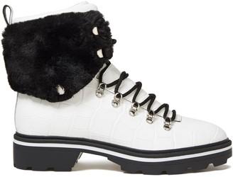 Sigerson Morrison Faux Fur-trimmed Croc-effect Leather Ankle Boots