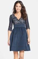 Eliza J Petite Women's Lace & Faille Dress