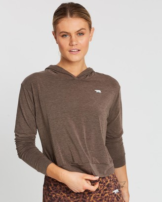 Running Bare Women's Brown Hoodies - Off Duty Cropped Workout Hoodie - Size 16 at The Iconic
