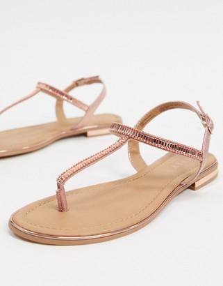 Lipsy flat rhinestone thong sandal in rose gold