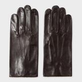 Paul Smith Men's Chocolate Brown Leather Signature Stripe Trim Gloves