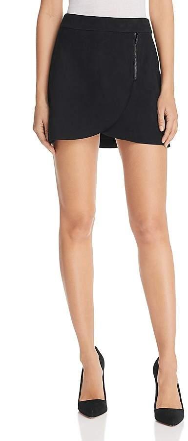Alice + Olivia Lennon Zip Detail Suede Mini Skirt