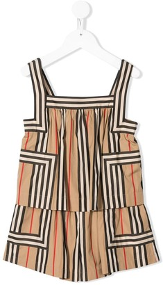 BURBERRY KIDS Stripe Print Playsuit
