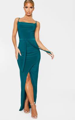 PrettyLittleThing Emerald Green Cowl Neck Tie Waist Maxi Dress