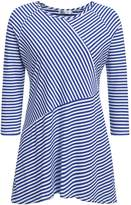 Meaneor Plus Size Casual Striped T-Shirt, O-Neck Asymmetrical Tee Loose Pullover Knit Tops (XL, )