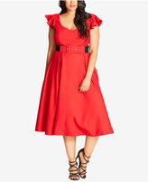 City Chic Plus Size Flutter-Sleeve Midi Dress