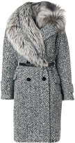 Ermanno Scervino fur trim woven coat - women - Fox Fur/Acrylic/Polyamide/Virgin Wool - 40
