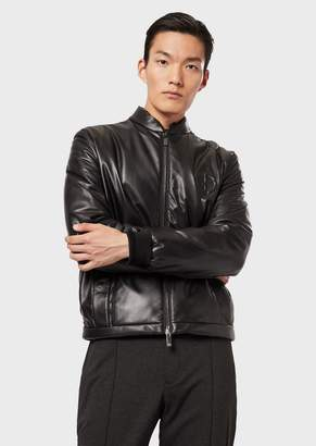 Giorgio Armani Blouson With Leather Front And Quilted Rear