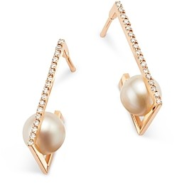 story. Own Your 14K Rose Gold Delicate Edge Cultured Freshwater Pearl & Diamond Earrings