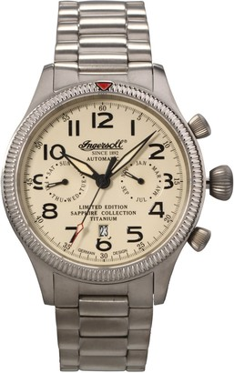 Ingersoll Men's Automatic Watch with White Dial Analogue Display and Silver Titanium Bracelet IN1630TCRM