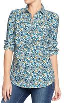 Old Navy Women's Printed-Poplin Shirts