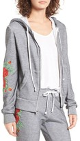 Wildfox Couture Women's Red Roses Embroidered Zip Hoodie