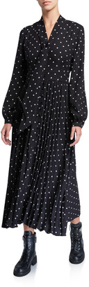 Equipment Amirin Polka Dot Tie-Neck Long-Sleeve Pleated Skirt Dress