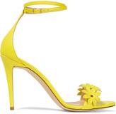 J.Crew Floral-appliquéd leather sandals