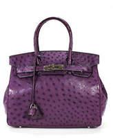 Hermes Cassis Purple Ostrich Leather Birkin 25 Satchel Handbag Size Medium