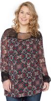 Motherhood Wendy Bellissimo Plus Size Lace Trim Maternity Blouse